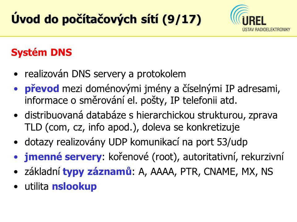 Systém DNS realizován DNS servery a protokolem převod mezi doménovými jmény a číselnými IP adresami, informace o směrování el. pošty, IP telefonii atd