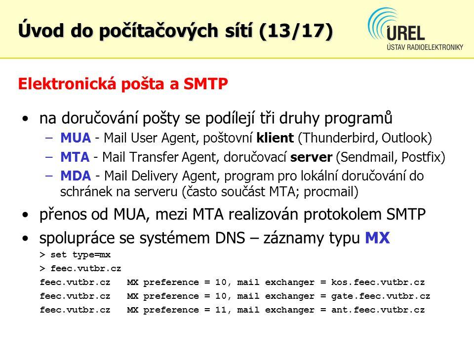 Elektronická pošta a SMTP na doručování pošty se podílejí tři druhy programů –MUA - Mail User Agent, poštovní klient (Thunderbird, Outlook) –MTA - Mai