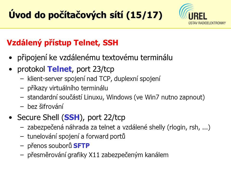 Vzdálený přístup Telnet, SSH připojení ke vzdálenému textovému terminálu protokol Telnet, port 23/tcp –klient-server spojení nad TCP, duplexní spojení