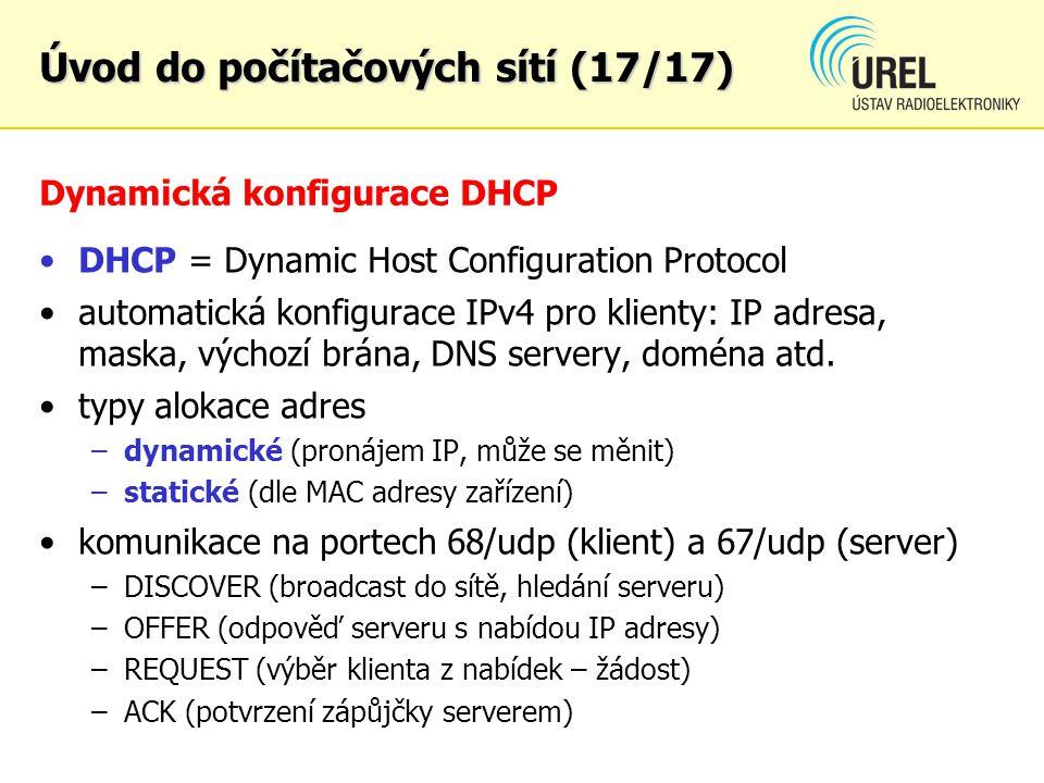 Dynamická konfigurace DHCP DHCP = Dynamic Host Configuration Protocol automatická konfigurace IPv4 pro klienty: IP adresa, maska, výchozí brána, DNS s
