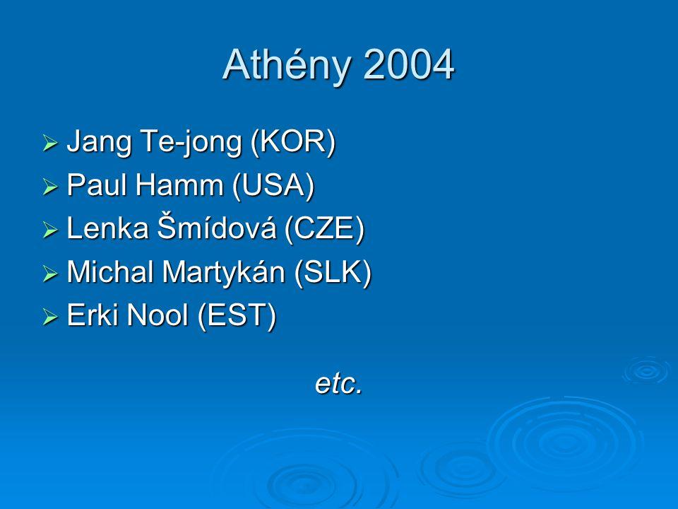 Athény 2004  Jang Te-jong (KOR)  Paul Hamm (USA)  Lenka Šmídová (CZE)  Michal Martykán (SLK)  Erki Nool (EST) etc.