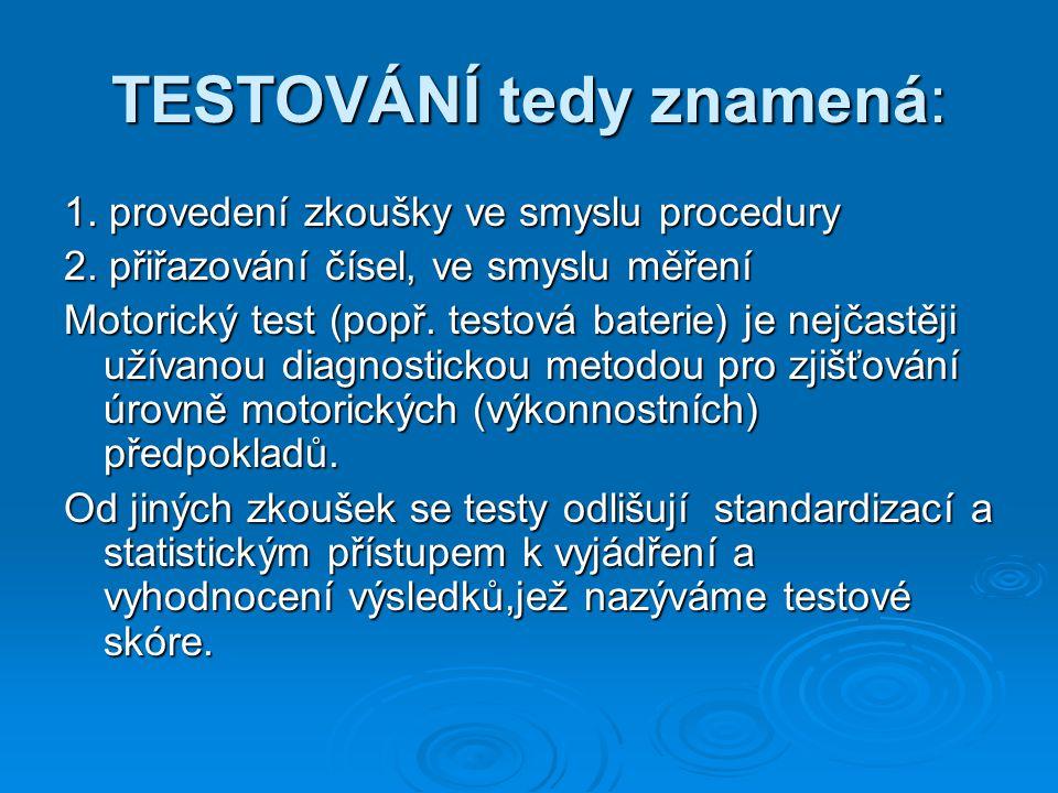 TESTOVÁNÍ tedy znamená: 1. provedení zkoušky ve smyslu procedury 2.
