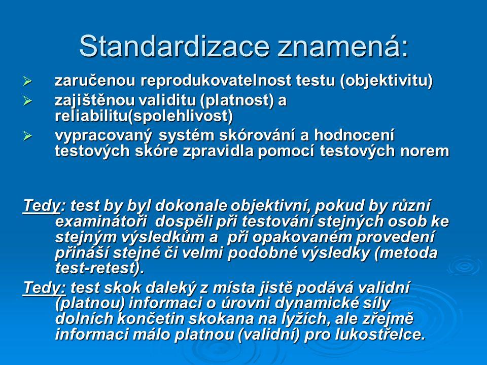 Standardizace znamená:  zaručenou reprodukovatelnost testu (objektivitu)  zajištěnou validitu (platnost) a reliabilitu(spolehlivost)  vypracovaný systém skórování a hodnocení testových skóre zpravidla pomocí testových norem Tedy: test by byl dokonale objektivní, pokud by různí examinátoři dospěli při testování stejných osob ke stejným výsledkům a při opakovaném provedení přináší stejné či velmi podobné výsledky (metoda test-retest).