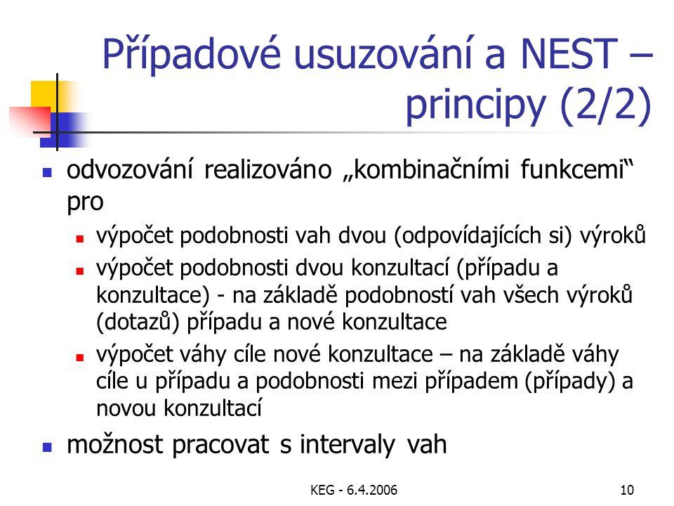 """KEG - 6.4.200610 Případové usuzování a NEST – principy (2/2) odvozování realizováno """"kombinačními funkcemi"""" pro výpočet podobnosti vah dvou (odpovídaj"""