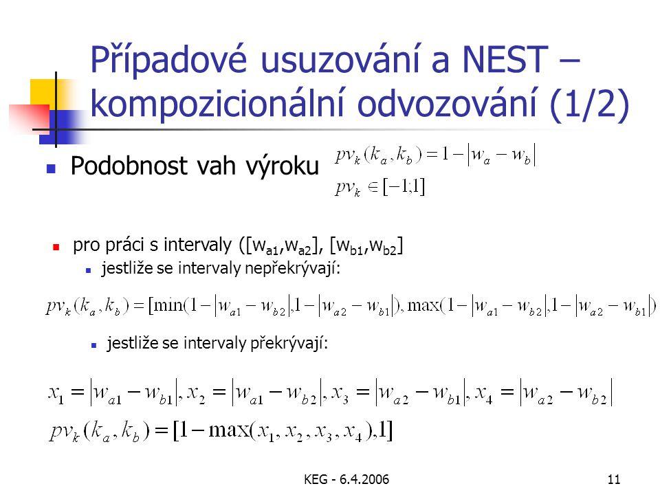 KEG - 6.4.200611 Podobnost vah výroku pro práci s intervaly ([w a1,w a2 ], [w b1,w b2 ] jestliže se intervaly nepřekrývají: jestliže se intervaly překrývají: Případové usuzování a NEST – kompozicionální odvozování (1/2)