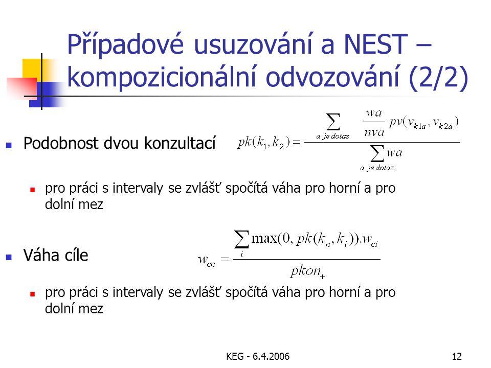 KEG - 6.4.200612 Případové usuzování a NEST – kompozicionální odvozování (2/2) Váha cíle Podobnost dvou konzultací pro práci s intervaly se zvlášť spočítá váha pro horní a pro dolní mez