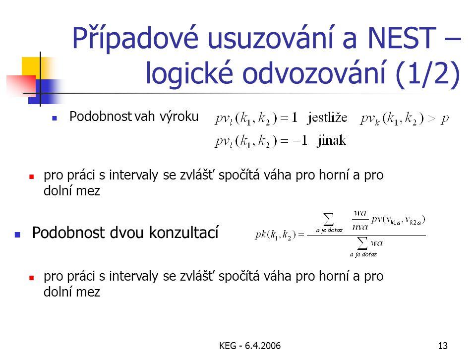 KEG - 6.4.200613 Případové usuzování a NEST – logické odvozování (1/2) Podobnost vah výroku Podobnost dvou konzultací pro práci s intervaly se zvlášť spočítá váha pro horní a pro dolní mez