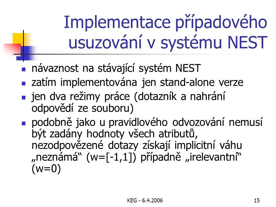 KEG - 6.4.200615 Implementace případového usuzování v systému NEST návaznost na stávající systém NEST zatím implementována jen stand-alone verze jen d