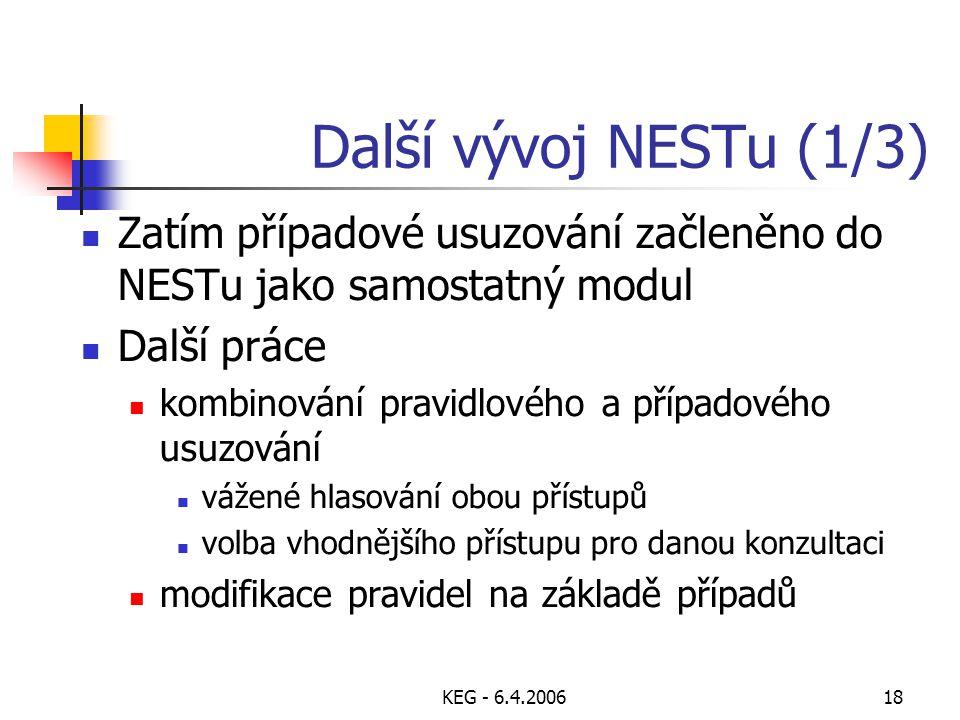 KEG - 6.4.200618 Další vývoj NESTu (1/3) Zatím případové usuzování začleněno do NESTu jako samostatný modul Další práce kombinování pravidlového a případového usuzování vážené hlasování obou přístupů volba vhodnějšího přístupu pro danou konzultaci modifikace pravidel na základě případů