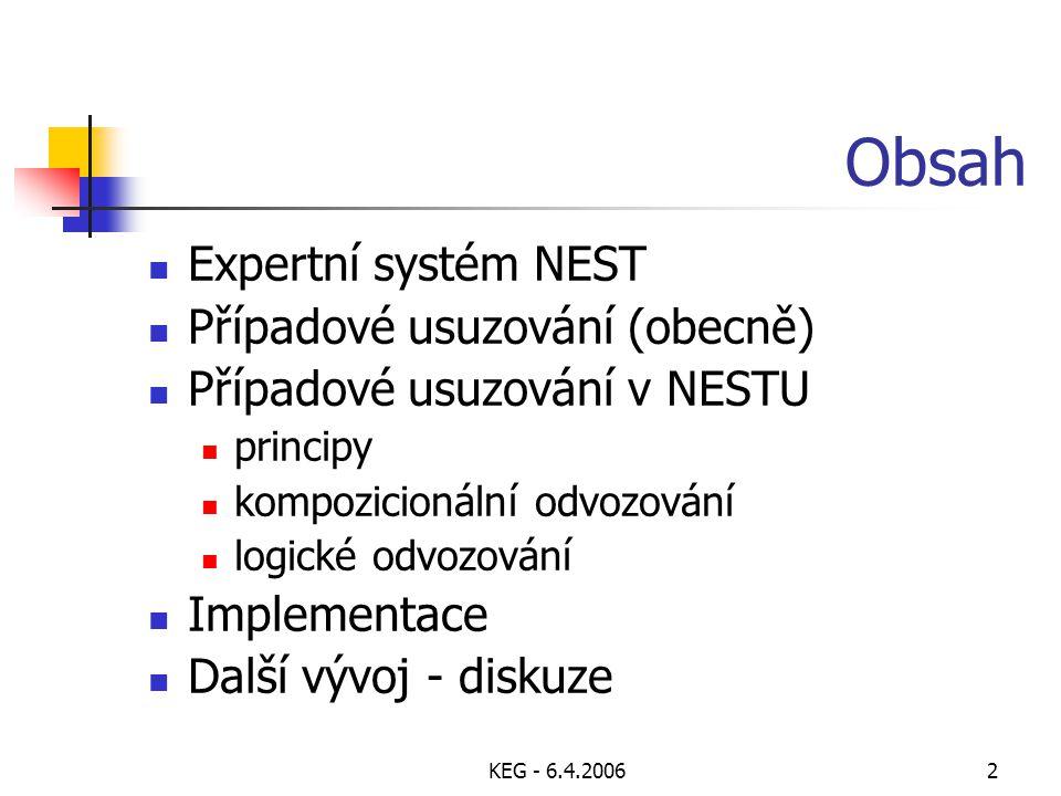 KEG - 6.4.20063 Expertní systém NEST (1/3) reprezentace znalostí atributy (binární, nominální jendoduché, nominální množinové, numerické) a od nich odvozené výroky každý atribut přiřazené zdroje: Standardní zdroje: odvozování, dotaz na uživatele Další zdroje: implicitní váha, soubor, externí funkce, výpočet pravidla: předpoklad  závěr (váha), akce kompozicionální - každý literál v závěru má váhu apriorní - kompozicionální pravidla bez předpokladu logická - nekompozicionální pravidla bez vah kontexty, integritní omezení