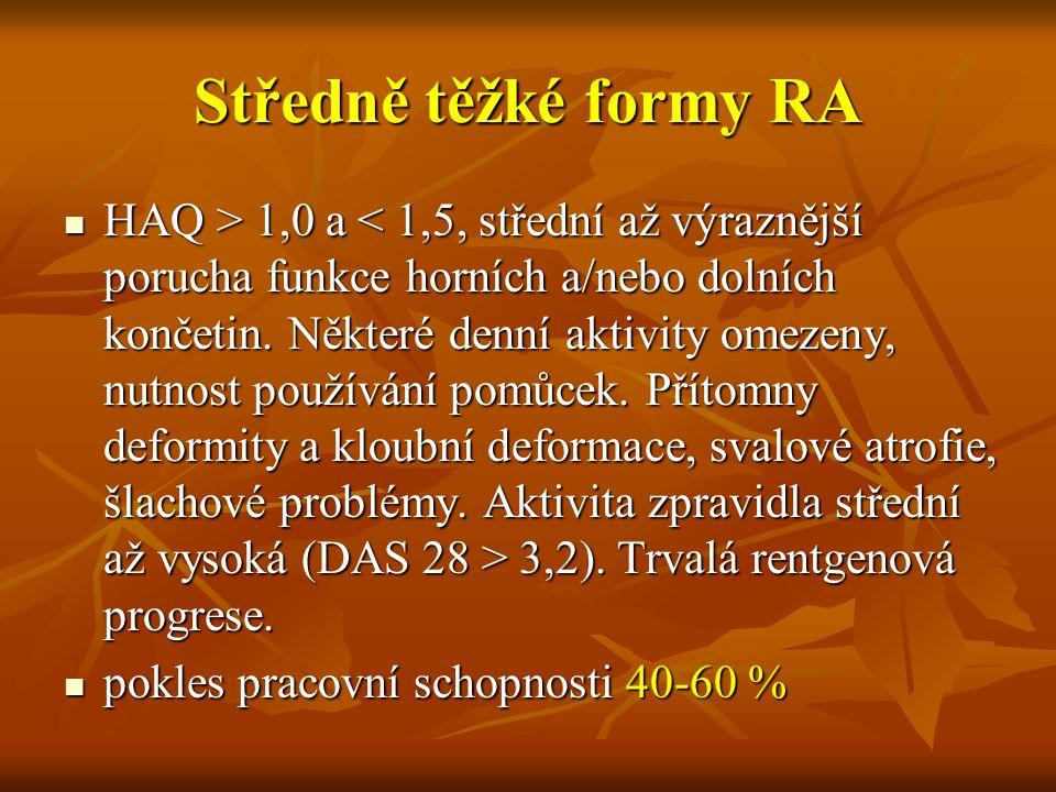 Středně těžké formy RA HAQ > 1,0 a 3,2). Trvalá rentgenová progrese. HAQ > 1,0 a 3,2). Trvalá rentgenová progrese. pokles pracovní schopnosti 40-60 %