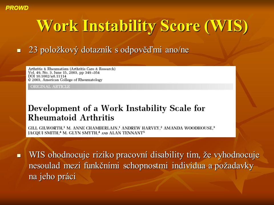 Work Instability Score (WIS) 23 položkový dotazník s odpověďmi ano/ne 23 položkový dotazník s odpověďmi ano/ne WIS ohodnocuje riziko pracovní disabili