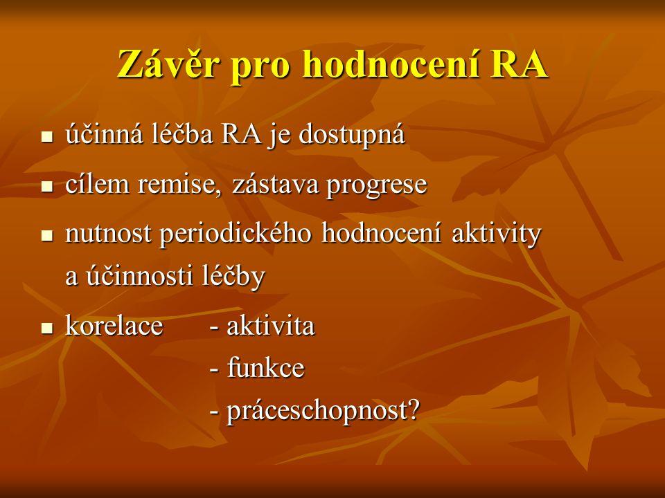 Závěr pro hodnocení RA účinná léčba RA je dostupná účinná léčba RA je dostupná cílem remise, zástava progrese cílem remise, zástava progrese nutnost p