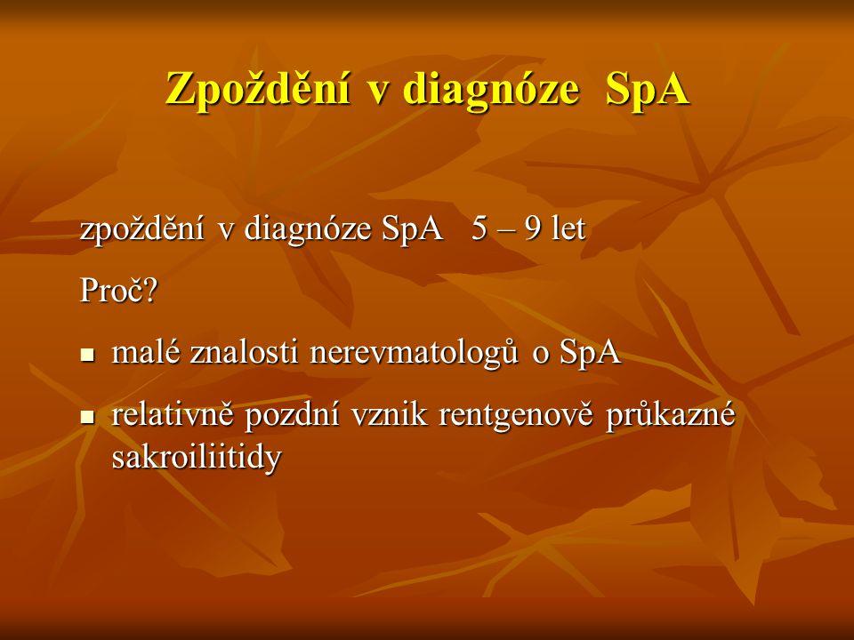 Zpoždění v diagnóze SpA zpoždění v diagnóze SpA 5 – 9 let Proč? malé znalosti nerevmatologů o SpA malé znalosti nerevmatologů o SpA relativně pozdní v