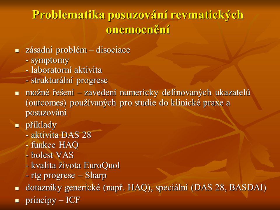 Problematika posuzování revmatických onemocnění zásadní problém – disociace - symptomy - laboratorní aktivita - strukturální progrese zásadní problém