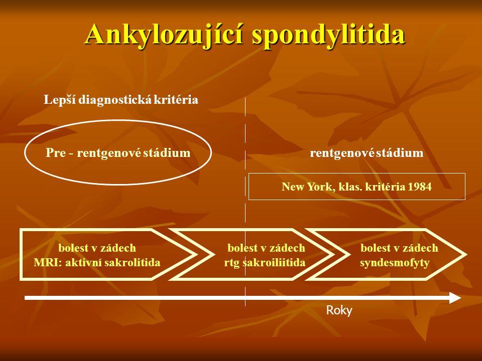 Ankylozující spondylitida Pre - rentgenové stádium Lepší diagnostická kritéria rentgenové stádium New York, klas. kritéria 1984 Roky bolest v zádech M