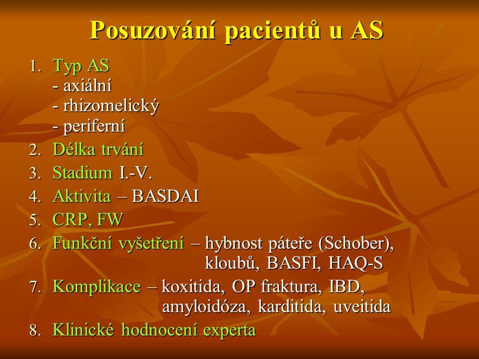 Posuzování pacientů u AS 1. Typ AS - axiální - rhizomelický - periferní 2. Délka trvání 3. Stadium I.-V. 4. Aktivita – BASDAI 5. CRP, FW 6. Funkční vy
