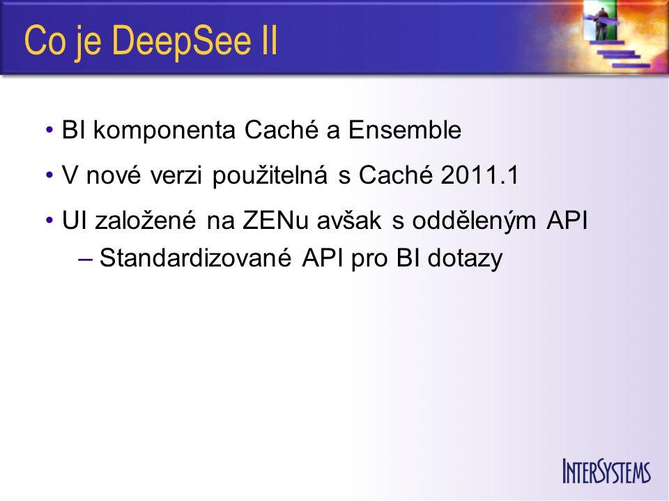 Co je DeepSee II BI komponenta Caché a Ensemble V nové verzi použitelná s Caché 2011.1 UI založené na ZENu avšak s odděleným API –Standardizované API pro BI dotazy