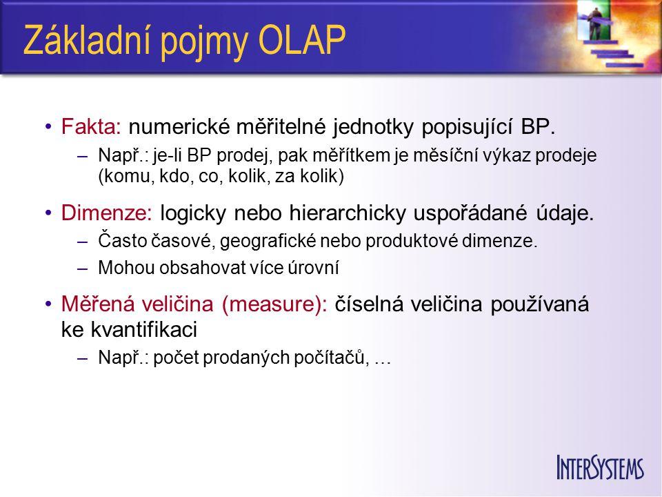 Základní pojmy OLAP Fakta: numerické měřitelné jednotky popisující BP. –Např.: je-li BP prodej, pak měřítkem je měsíční výkaz prodeje (komu, kdo, co,