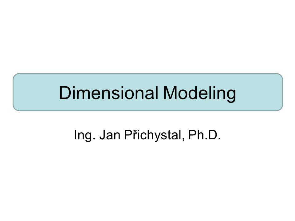 Identifikace dimenzí Třetí krok spočívá ve výběru vhodných dimenzí příslušných k dané FT s danou granularitou Většina dimenzí vyplyne automaticky po předchozím kroku Každá dimenze, která nabyde nějaké hodnoty při dané granularitě je vhodný kandidát