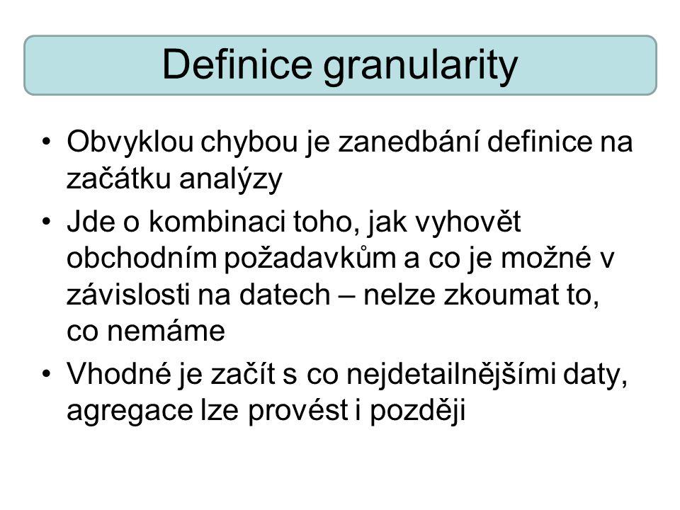 Definice granularity Obvyklou chybou je zanedbání definice na začátku analýzy Jde o kombinaci toho, jak vyhovět obchodním požadavkům a co je možné v závislosti na datech – nelze zkoumat to, co nemáme Vhodné je začít s co nejdetailnějšími daty, agregace lze provést i později