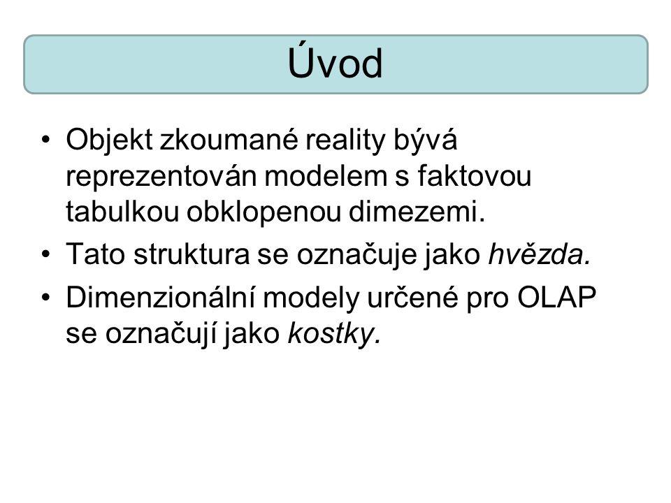 Úvod Objekt zkoumané reality bývá reprezentován modelem s faktovou tabulkou obklopenou dimezemi.