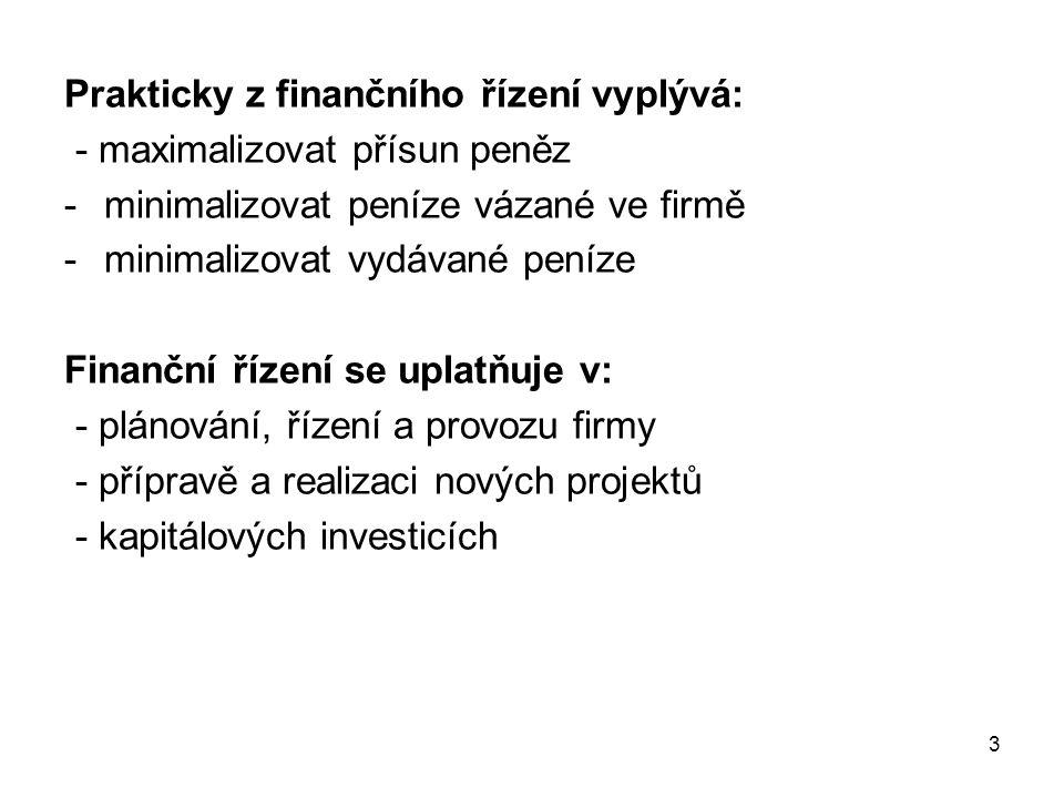 3 Prakticky z finančního řízení vyplývá: - maximalizovat přísun peněz -minimalizovat peníze vázané ve firmě -minimalizovat vydávané peníze Finanční ří