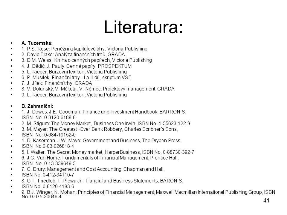 41 Literatura: A. Tuzemská: 1. P.S. Rose: Peněžní a kapitálové trhy, Victoria Publishing 2. David Blake: Analýza finančních trhů, GRADA 3. D.M. Weiss: