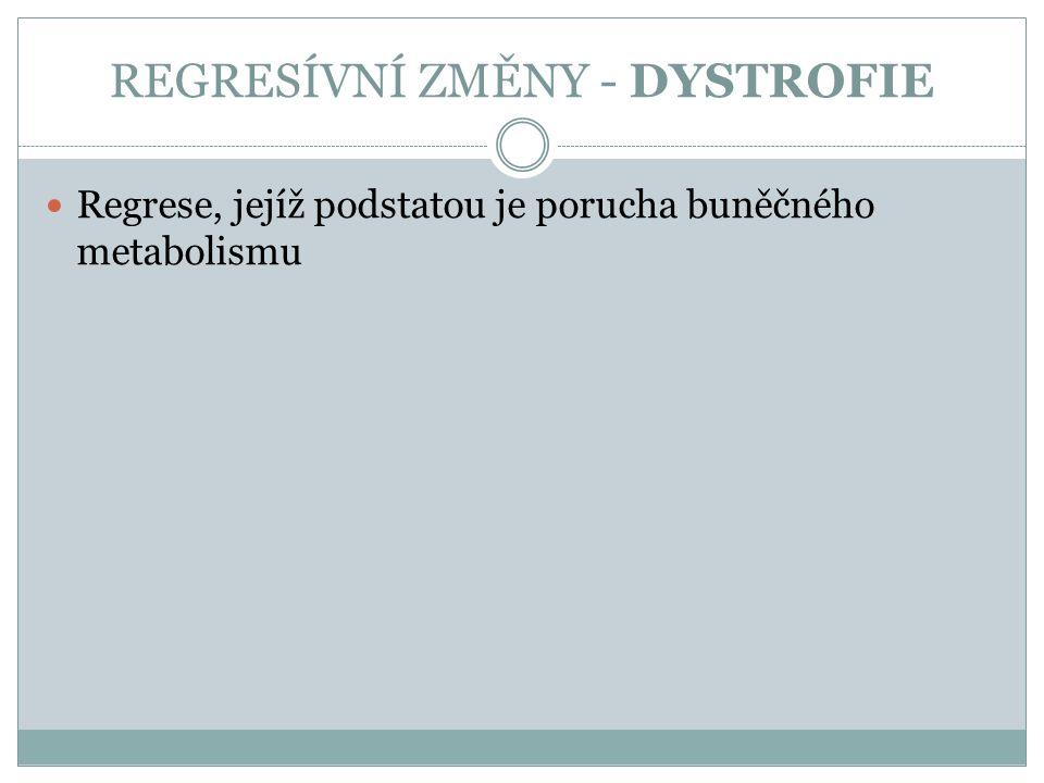 REGRESÍVNÍ ZMĚNY - DYSTROFIE Regrese, jejíž podstatou je porucha buněčného metabolismu
