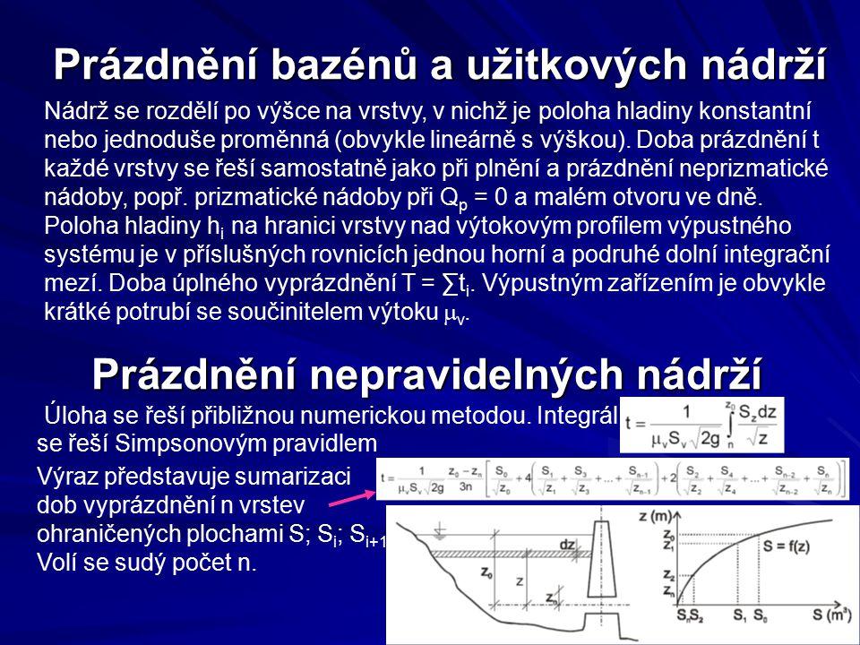 Prázdnění bazénů a užitkových nádrží Nádrž se rozdělí po výšce na vrstvy, v nichž je poloha hladiny konstantní nebo jednoduše proměnná (obvykle lineár
