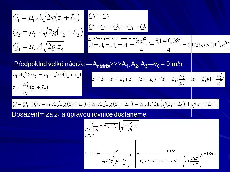 Předpoklad velké nádrže →A nádrže >>>A 1, A 2, A 3 →v 0 = 0 m/s. Dosazením za z 1 a úpravou rovnice dostaneme