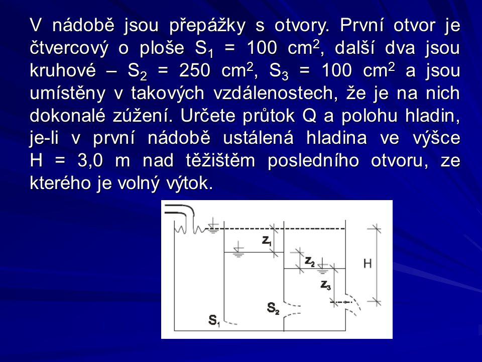V nádobě jsou přepážky s otvory. První otvor je čtvercový o ploše S 1 = 100 cm 2, další dva jsou kruhové – S 2 = 250 cm 2, S 3 = 100 cm 2 a jsou umíst
