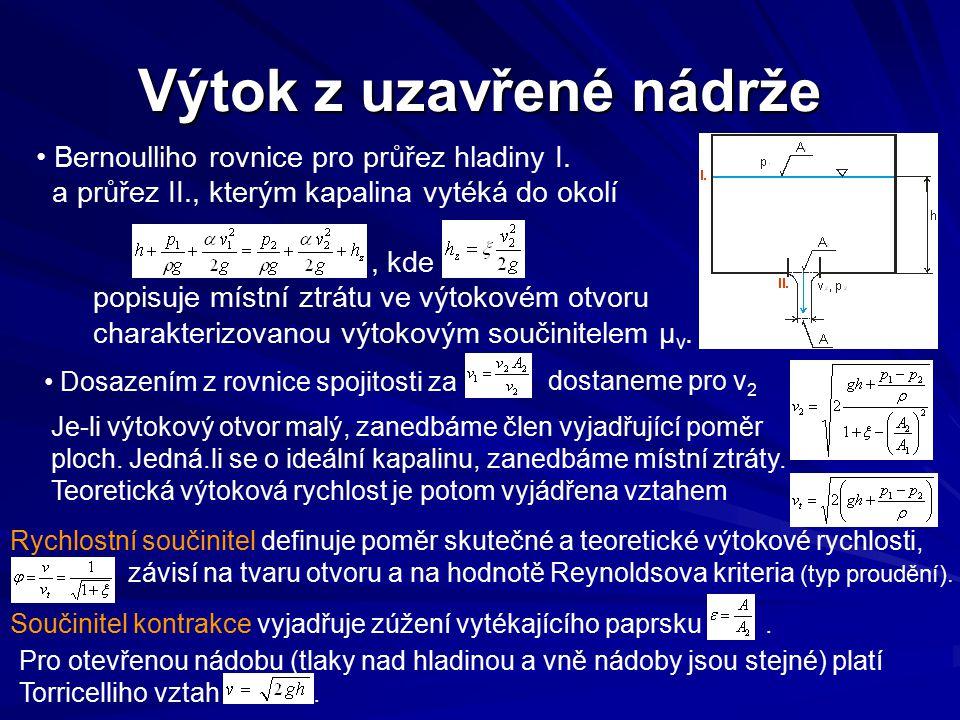 Bernoulliho rovnice pro průřez hladiny I. a průřez II., kterým kapalina vytéká do okolí, kde popisuje místní ztrátu ve výtokovém otvoru charakterizova