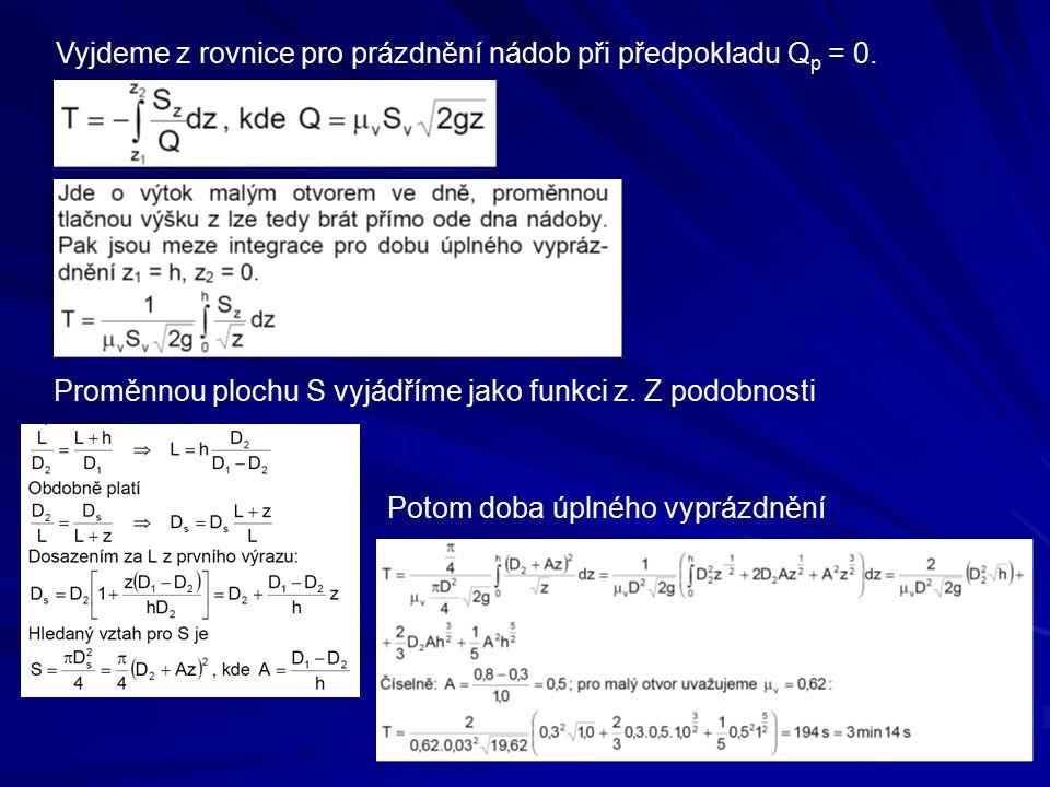 Vyjdeme z rovnice pro prázdnění nádob při předpokladu Q p = 0. Proměnnou plochu S vyjádříme jako funkci z. Z podobnosti Potom doba úplného vyprázdnění