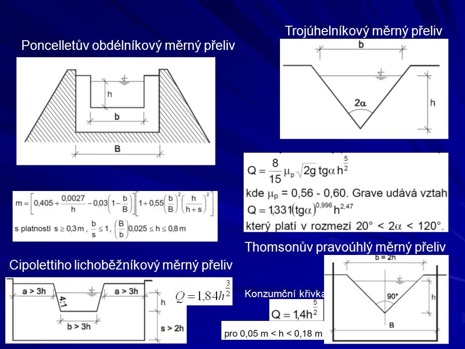 Poncelletův obdélníkový měrný přeliv Trojúhelníkový měrný přeliv Thomsonův pravoúhlý měrný přeliv Cipolettiho lichoběžníkový měrný přeliv Konzumční kř