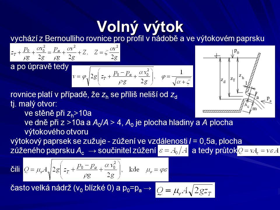 vychází z Bernoulliho rovnice pro profil v nádobě a ve výtokovém paprsku a po úpravě tedy rovnice platí v případě, že z h se příliš neliší od z d tj.