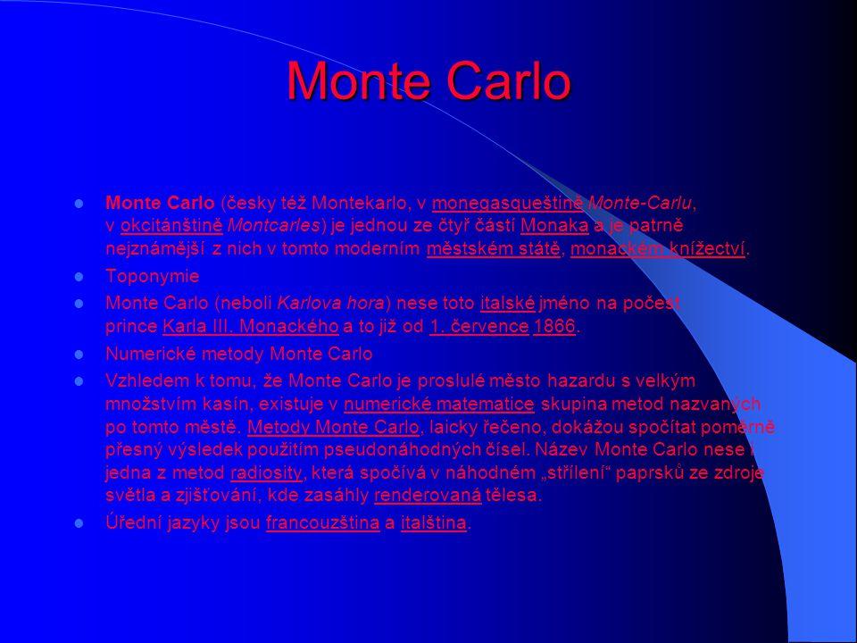 Monte Carlo Monte Carlo (česky též Montekarlo, v monegasqueštině Monte-Carlu, v okcitánštině Montcarles) je jednou ze čtyř částí Monaka a je patrně ne