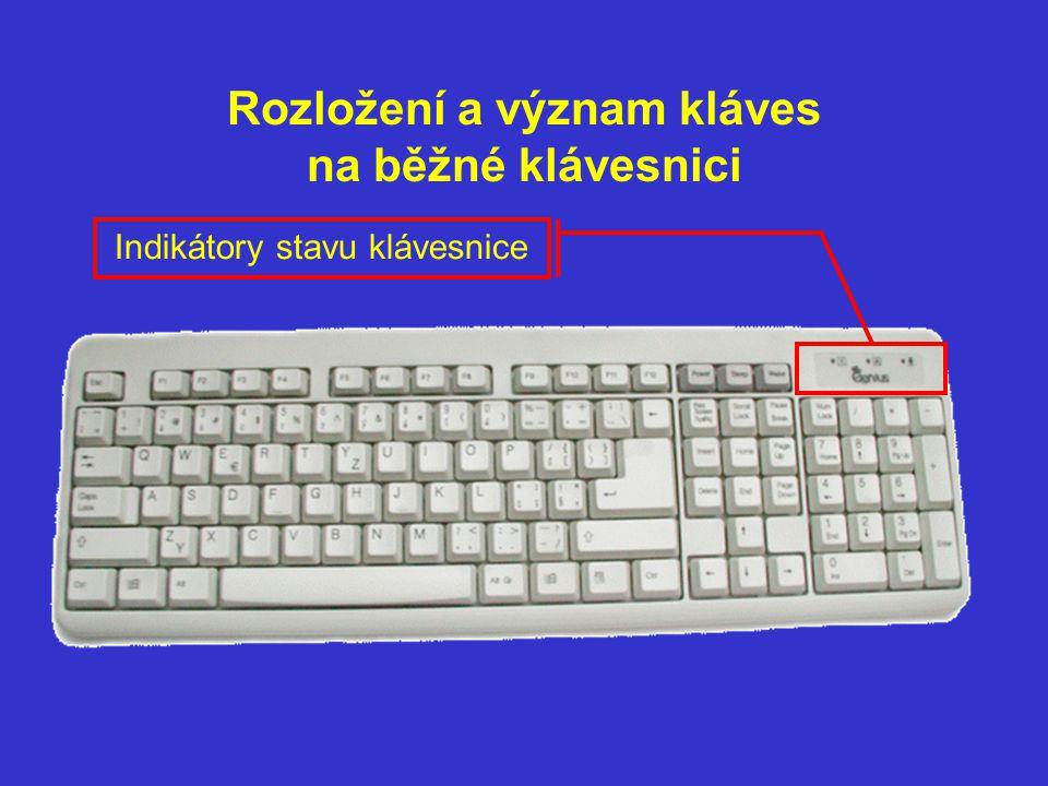 Rozložení a význam kláves na běžné klávesnici Indikátory stavu klávesnice