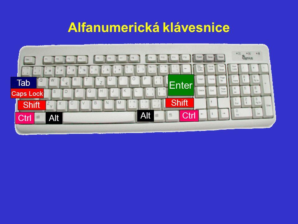 Alfanumerická klávesnice Enter Shift Tab Caps Lock Ctrl Alt