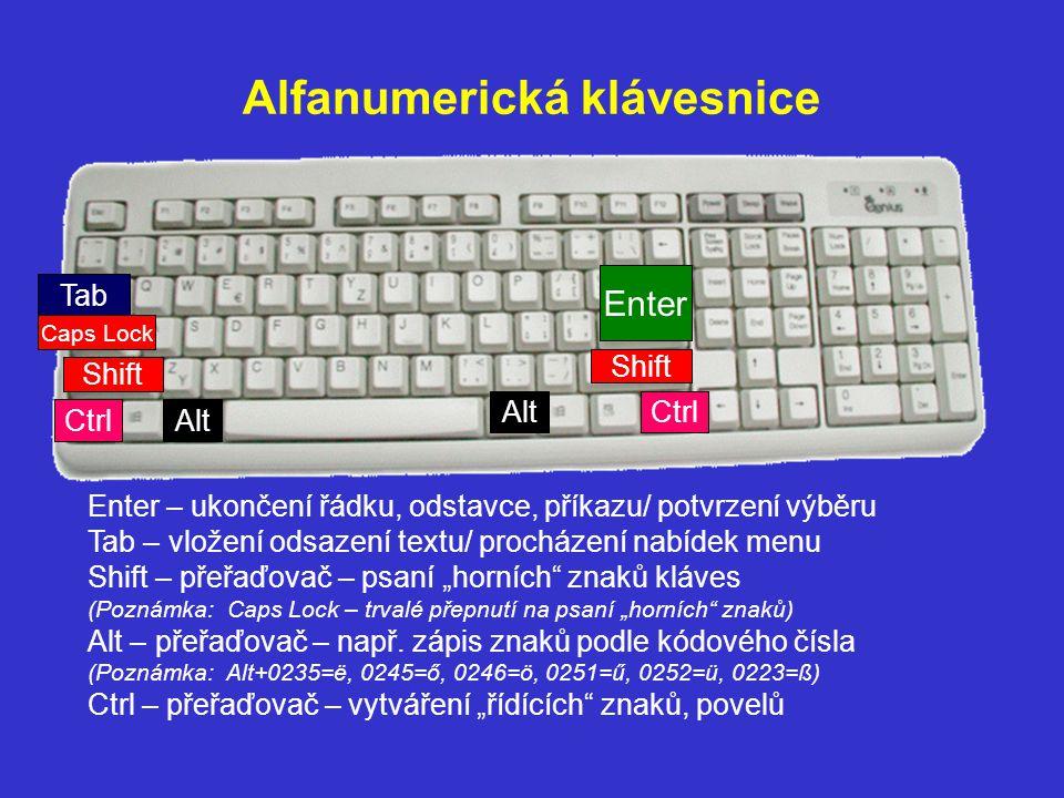 Alfanumerická klávesnice Enter Shift Tab Caps Lock Ctrl Alt Enter – ukončení řádku, odstavce, příkazu/ potvrzení výběru Tab – vložení odsazení textu/