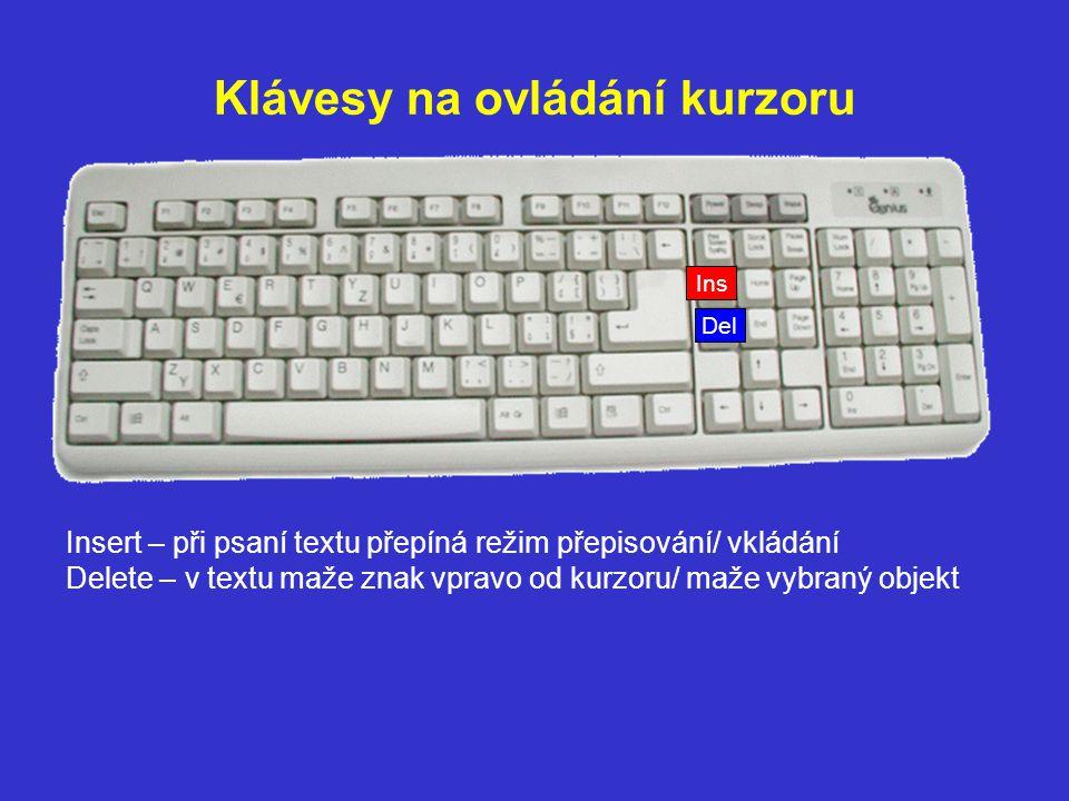Klávesy na ovládání kurzoru Del Insert – při psaní textu přepíná režim přepisování/ vkládání Delete – v textu maže znak vpravo od kurzoru/ maže vybran