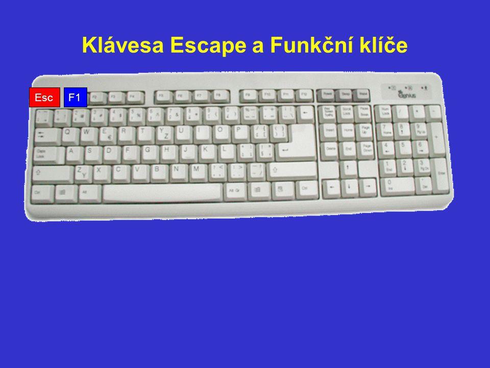 Klávesa Escape a Funkční klíče F1 Esc