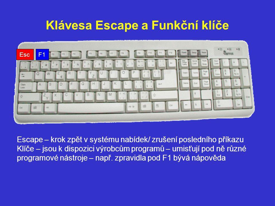 Klávesa Escape a Funkční klíče F1 Escape – krok zpět v systému nabídek/ zrušení posledního příkazu Klíče – jsou k dispozici výrobcům programů – umisťu