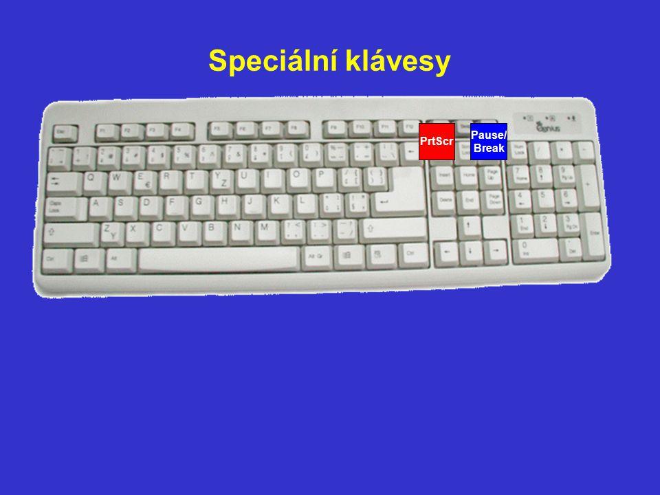 Speciální klávesy Pause/ Break PrtScr