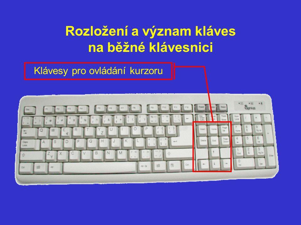 Klávesy na ovládání kurzoru Del Insert – při psaní textu přepíná režim přepisování/ vkládání Delete – v textu maže znak vpravo od kurzoru/ maže vybraný objekt Ins