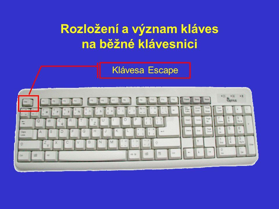 Klávesa Escape a Funkční klíče F1 Escape – krok zpět v systému nabídek/ zrušení posledního příkazu Klíče – jsou k dispozici výrobcům programů – umisťují pod ně různé programové nástroje – např.