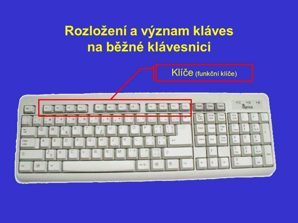 Rozložení a význam kláves na běžné klávesnici Speciální klávesy