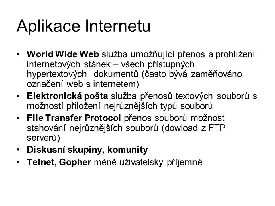 Aplikace Internetu World Wide Web služba umožňující přenos a prohlížení internetových stánek – všech přístupných hypertextových dokumentů (často bývá zaměňováno označení web s internetem) Elektronická pošta služba přenosů textových souborů s možností přiložení nejrůznějších typů souborů File Transfer Protocol přenos souborů možnost stahování nejrůznějších souborů (dowload z FTP serverů) Diskusní skupiny, komunity Telnet, Gopher méně uživatelsky příjemné
