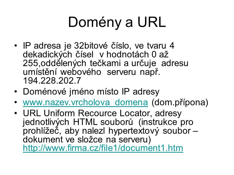 Domény a URL IP adresa je 32bitové číslo, ve tvaru 4 dekadických čísel v hodnotách 0 až 255,oddělených tečkami a určuje adresu umístění webového serveru např.