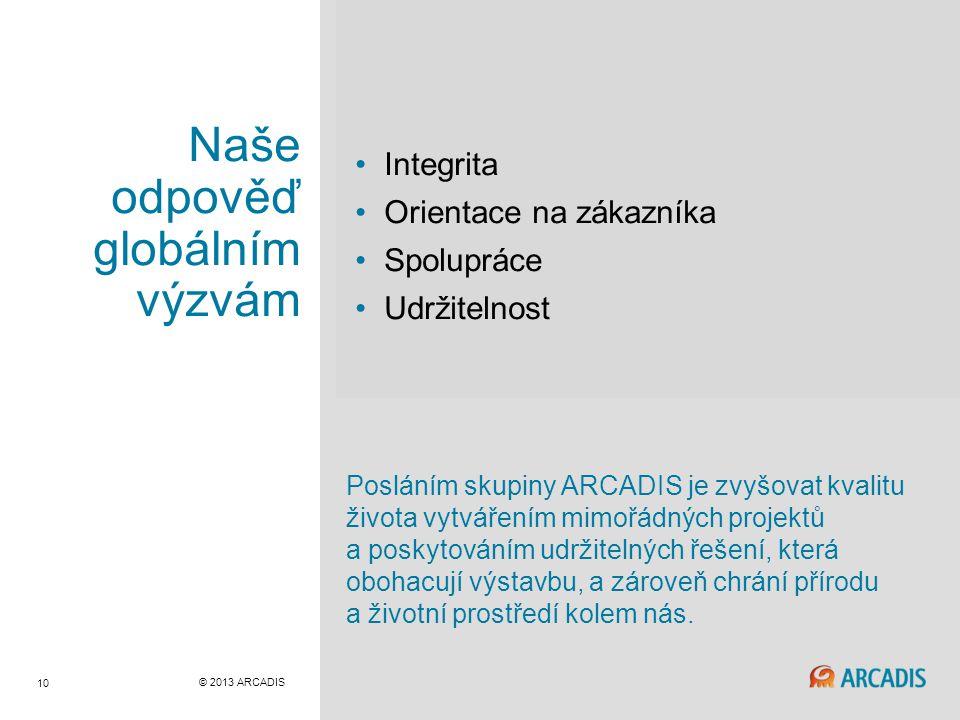 © 2013 ARCADIS 10 Naše odpověď globálním výzvám Integrita Orientace na zákazníka Spolupráce Udržitelnost Posláním skupiny ARCADIS je zvyšovat kvalitu života vytvářením mimořádných projektů a poskytováním udržitelných řešení, která obohacují výstavbu, a zároveň chrání přírodu a životní prostředí kolem nás.